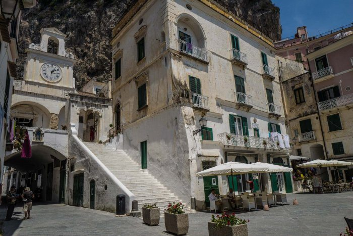 Atrani center view from the restaurant Salo